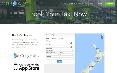 Online bookings seen on Green cabs website