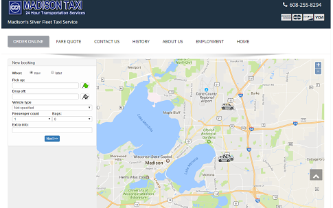 Online bookings seen on Madison Taxis website